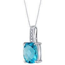 14K White Gold Genuine Swiss Blue Topaz and Diamond Cushion Cut Cosmo Pendant 3.25 Carats