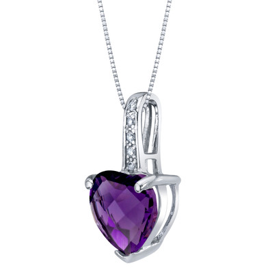 14K White Gold Genuine Amethyst and Diamond Heart Pendant 1.50 Carats