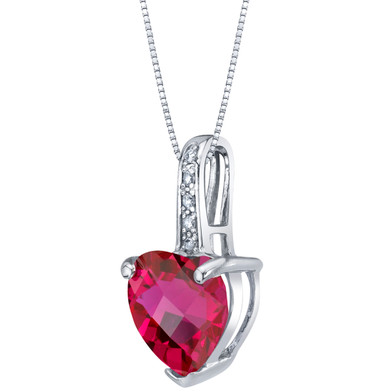 14K White Gold Created Ruby and Diamond Heart Pendant 2.50 Carats
