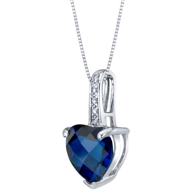 14K White Gold Created Blue Sapphire and Diamond Heart Pendant 2.50 Carats