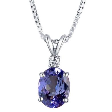 14 Karat White Gold Tanzanite Diamond Pendant Oval Shape 2 Carats