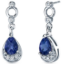 Simply Classy 2.00 Carats Blue Sapphire Dangle Earrings in Sterling Silver Style SE7152