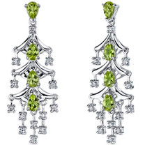 Captivating Seduction 4.00 Carats Peridot Dangle Earrings in Sterling Silver Style SE7188