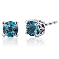 Scroll Design 2.00 Carats London Blue Topaz Round Cut Stud Earrings in Sterling Silver Style SE7950
