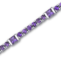 5.75 carats Princess & Round Cut Amethyst Bracelet in Sterling Silver Style sb2860