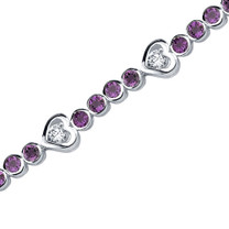 3.00 Carats Round Shape Amethyst & White CZ Bracelet in Sterling Silver Style SB3682
