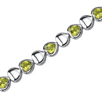 3.50 Carats Round Shape Peridot Bracelet in Sterling Silver Style SB3784