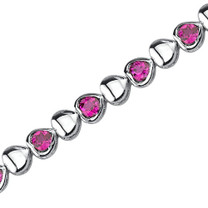 Lovely Fantasy: Round Shape Ruby Gemstone Bracelet in Sterling Silver Style SB3788