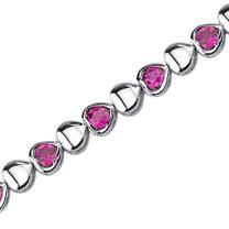 Lovely Fantasy: Round Shape Ruby Gemstone Bracelet in Sterling Silver Style SB3788