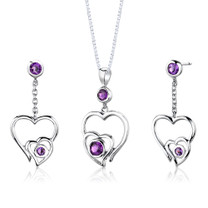 Sterling Silver 1.25 Carats Round shape Amethyst Pendant Earrings Set Style SS2650