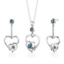 Sterling Silver 1.50 Carats Round shape London Blue Topaz Pendant Earrings Set Style SS2658