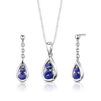 Sterling Silver Round Shape Sapphire Pendant Earrings Set Style SS2802