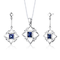 Sterling Silver Princess Cut Sapphire Pendant Earrings Set Style SS2830