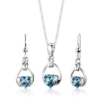 Sterling Silver 2.25 Carats Heart Shape Swiss Blue Topaz Pendant Earrings Set Style SS2964