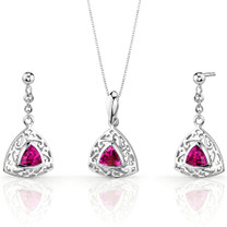Filigree Design 1.50 carats Trillion Cut Sterling Silver Ruby Pendant Earrings Set Style SS3442