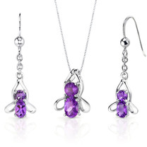 Bee Design 2.50 carats Oval Round Cut Sterling Silver Amethyst Pendant Earrings Set Style SS3502