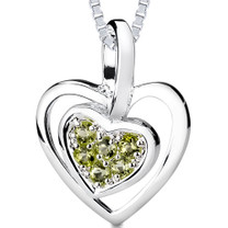 0.25Ct Round Cut Peridot Heart Pendant Style SP3242
