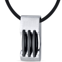 Mens Stainless Steel Pendant with Triple Stripe Black Accents on Black Cord Necklace Style SN9132