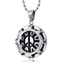 Modern Art Polished Stainless Steel Peace Sign Circle Pendant Style SN10102