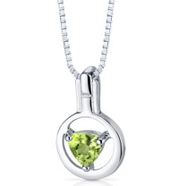 Trillion Cut Peridot Pendant Sterling Silver Style SP4786