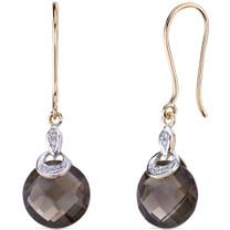 10 Karat Two Tone Gold 7.00 carat Cut Smoky Quartz Diamond Earrings Style E18398