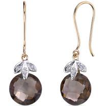 10 Karat Two Tone Gold 7.00 carat Cut Smoky Quartz Diamond Earrings Style E18408