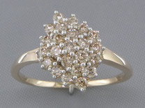 0.70 cts Diamond Cluster Ring 14Kt Yellow Gold Style R54722