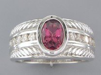 Bezel Oval Pink Tourmaline Diamond Ribbed Ring Unisex Style R58918
