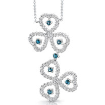 0.75 carat Round Shape London Blue Topaz & White CZ Necklace in Sterling Silver Style SV1538