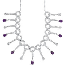 3.75 Carats Briolette Drop Amethyst & White CZ Necklace in Sterling Silver Style SV1546