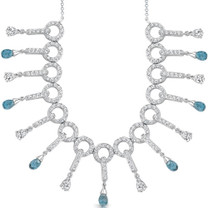 5.00 Carats Briolette Drop London Blue Topaz & White CZ Necklace in Sterling Silver Style SV1552