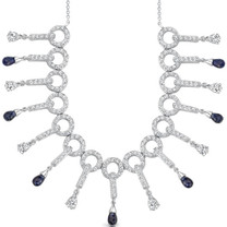 Briolette Drop Sapphire & White CZ Necklace in Sterling Silver Style SV1556
