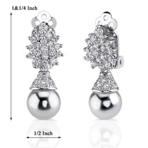 Sterling Silver Art Deco Inspired Drop Earrings with Faux White Pearls and CZ Style MDE1160