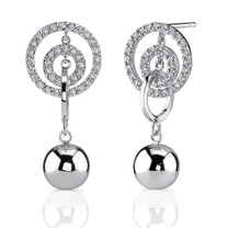 Sterling Silver Celebrity Style Linked Circle Bead Drop Earrings with CZ Style MDE1216