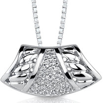 Bedazzling Style: Sterling Silver Enhancer Style Pendant with CZ Style MDP1130