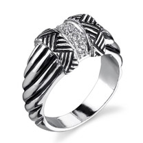 Sterling Silver Cable Style Size 6 Right Hand Ring with CZ Style MDR1176