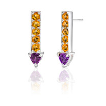 2.00 cts Trillion Amethyst Round Citrine Earrings Style SE3068
