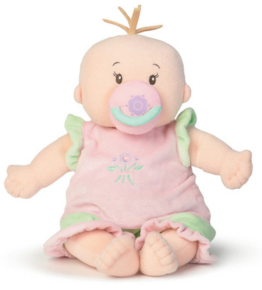 Baby Stella is delightfully detailed, from her lifelike toes, belly button and plump tummy, to her soft fleece hair and embroidered features. This beautiful doll comes with a removable diaper; a super-soft, two-piece sleeper outfit and a pacifier that attaches magnetically to her mouth. Toddlers will love cradling, dressing, and caring for this baby.