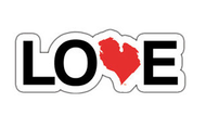 "Love Michigan 2"" Sticker - Red"