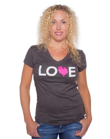 Jr Love MI V-Neck Tee - Heather