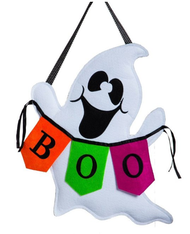 Boo Ghost Burlap Door Banner