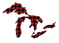 Great Lakes Proud Sticker - Red Buffalo Plaid