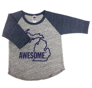 Michigan Awesome baby baseball tee