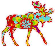 Flower Power Moose Sticker