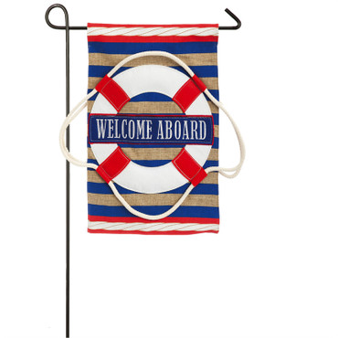 Welcome Aboard Burlap Garden Flag