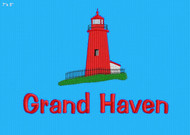 "Turquoise Towel with custom Grand Haven Lighthouse embroidery.  32"" x 64""."