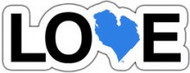"4"" x 1"" sticker - blue heart"