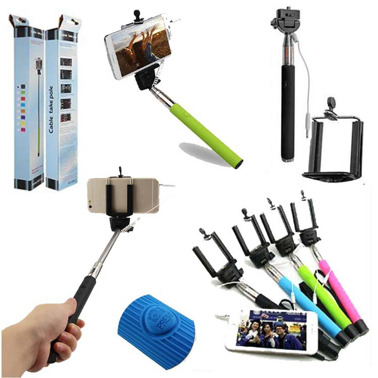 wired selfie stick extendable handheld monopod plug and play cable take pole wired for iphone 6. Black Bedroom Furniture Sets. Home Design Ideas