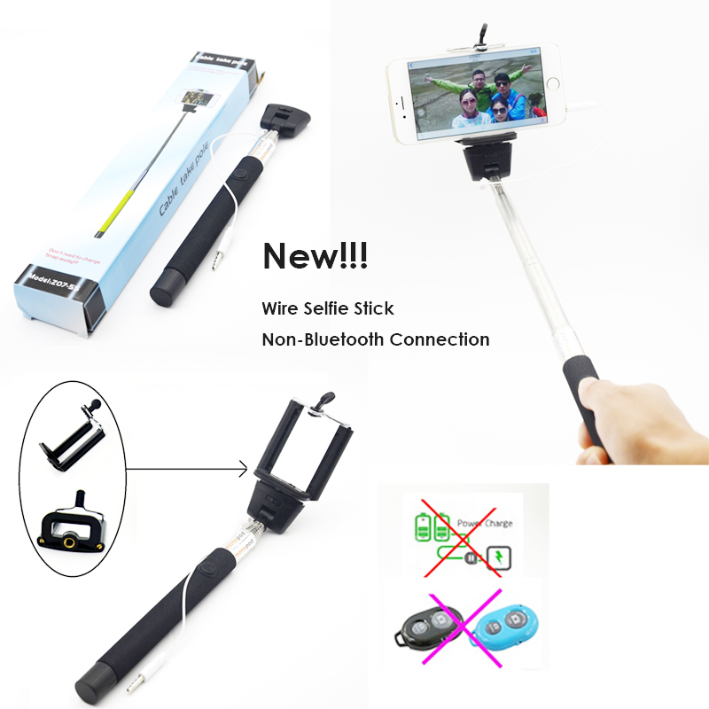 wired selfie stick extendable handheld monopod plug and play cable take pole. Black Bedroom Furniture Sets. Home Design Ideas