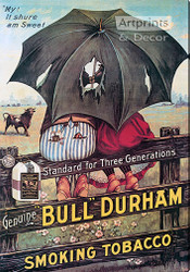 Bull Durham Smoking Tobacco - Stretched Canvas Vintage Ad Art Print